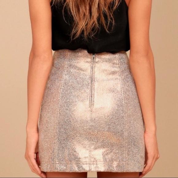 Free People Dresses & Skirts - Free People Rose Gold Mini Skirt Size 6